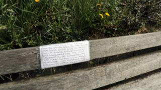A lonely heart on a Swansea bench