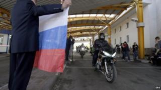 Russian bikers leaving Belarus before being blocked at the Polish border, 27 April 2015