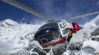 A rescue helicopter on Mount Everest
