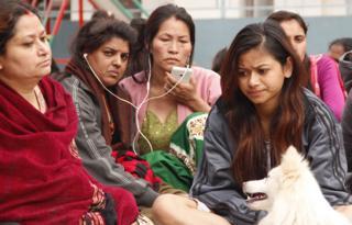 People sitting outside in Kathmandu