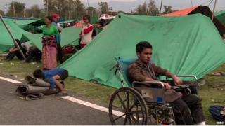 Families in rescue camp in Kathmandu