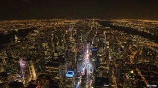 Aerial image over Midtown, Manhattan