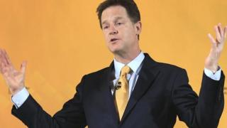 Nick Clegg at his press conference in London on Tuesday