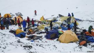 The Mount Everest south base camp in Nepal is seen a day after a huge earthquake-caused avalanche killed at least 17 people, in this photo courtesy of 6summitschallenge.com taken on April 26, 2015