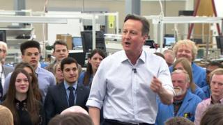 David Cameron speaking in north London