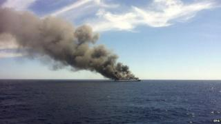 Spanish ferry on fire