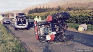 The A55 westbound was closed following the accident involving a tractor, cars and a trailer
