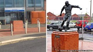 Stan Mortensen statue and empty plinth