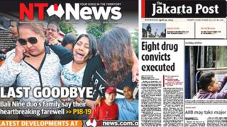Australian and Indonesian newspaper front pages