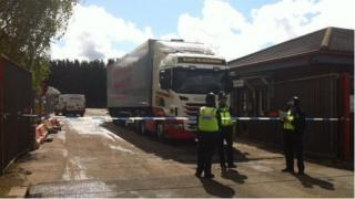 Police cordon at recycling centre in Sparkhill, Birmingham