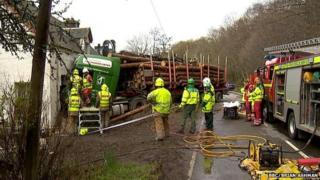 Scene of lorry crash