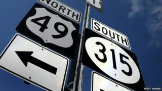 Highway signs near Clarksdale, Mississippi, US