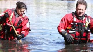 Fire team searches lake