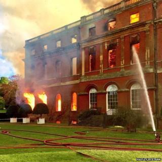 Clandon Park on fire