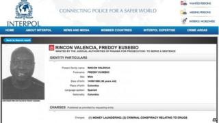 Screen grab of red notice against Colombian footballer Freddy Rincon