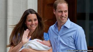 Duke and Duchess of Cambridge with their first born, Prince George