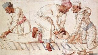 A 19th-century watercolour by an unknown Indian artist depicts three Thugs strangling a traveller