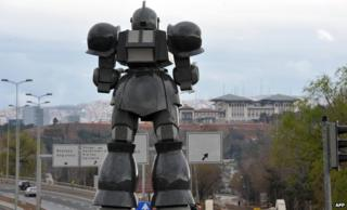 The robot statue overlooking Turkey's presidential palace