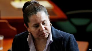 Former Colombian Chief of Intelligence Maria del Pilar Hurtado during a trial against her, in Bogota, Colombia