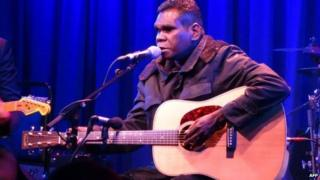 Australian folk singer Gurrumul performs at the Subculture club in New York on April 29, 2015.