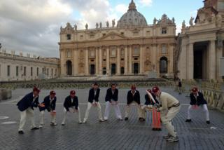 The Authors eleven pose in front of St Peter's Basilica