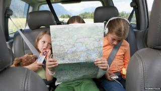 Children reading map