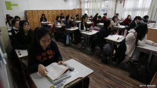 South Korean students in an exam