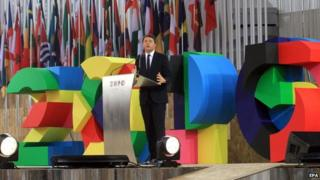 Italian Prime Minister Matteo Renzi delivers a speech on the occasion of the official opening of the Milan Expo 2015 in Milan, Italy, 1 May 2015
