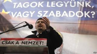 Csanad Szegedi speaking as a member of Jobbik in 2012