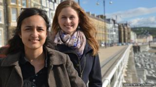Aberystwyth University students Anna Gautam, who is from the Nepalese capital Kathmandu, and Katharina Hopp from Germany