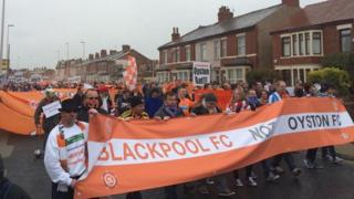 Protesters in Blackpool