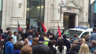 Protest outside bank in Queen St, Cardiff