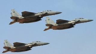 A file picture taken on January 1, 2013 shows jet fighters of the Saudi Royal air force