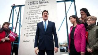 Ed Miliband with his stone of pledges
