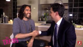 Russell Brand shakes hands with Labour leader Ed Miliband - 30 April 2015