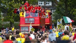 Watford open-top bus parade at Cassiobury park