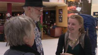 Amy Webster meets her parents at the airport
