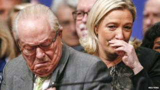 Marine Le Pen (R) and her father Jean-Marie Le Pen attend their party congress in Lyon on 30 November 2014