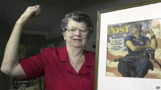 Mary Doyle Keefe, alongside Rockwell's painting