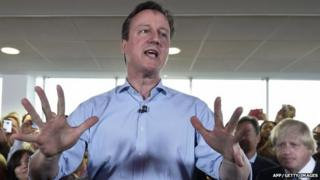 David Cameron speaks at an election rally in London