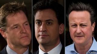 Nick Clegg, Ed Miliband and David Cameron