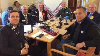 Presenter Ben McGrail (left), Alan Dimmick, David Oakensen, Theo Simon, David Rendel and David Warburton