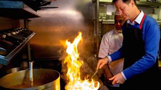 Nick Clegg cooking in Cardiff
