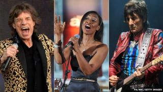 Sir Mick Jagger, Beverley Knight and Ronnie Wood