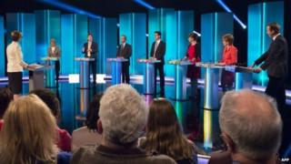 Party leaders in a 2 April televised debate