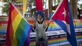 A transvestite holds a gay rights banner and a Cuban national flag at a march against homophobia in Havana on 11 May 2013