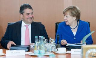 Angela Merkel and her coalition partner Sigmar Gabriel (6 May)