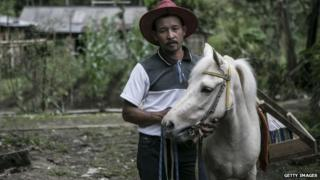 42 year old Ridwan Sururi with Luna, a horse used as mobile library on May 5, 2015 in Serang Village, Purbalingga, Central Java Indonesia.
