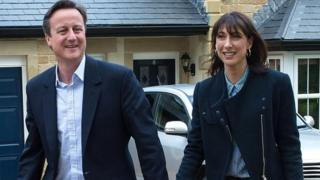 David Cameron and his wife Samantha in Lancaster