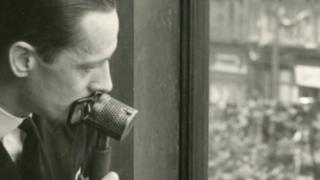 Harry McMullan broadcasts for the BBC on VE Day